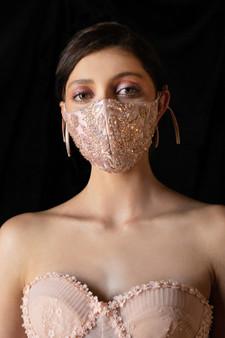 Couture Designer Blush Beaded Floral Antoinette Fashion Mask