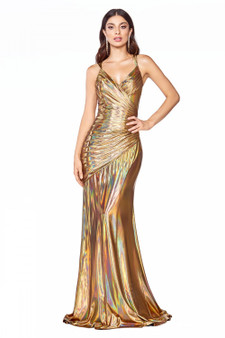 Golden Globe Fitted Metallic Liquid Open Criss Cross Back Dress
