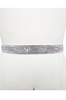 Belt: Straight Adjustable Silver Rhinestone