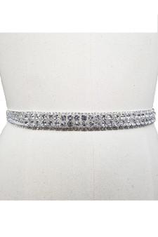 Belt: Adjustable Silver with Multi-Sized Rhinestones.