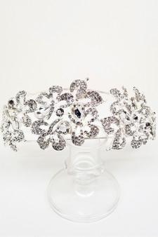 Hair Accessory: Silver Crystal and Rhinestone Flower Diadem