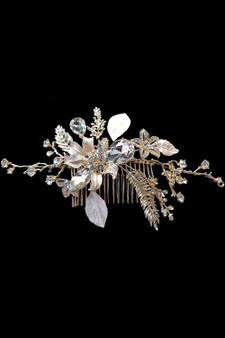 Hair Accessory: Flexible Gold Flower Hair Vine Detailed with Silver Crystals and Rhinestone Studs.