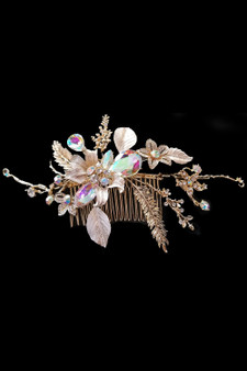 Hair Accessory: Flexible Gold Flower Hair Vine Detailed with AB Crystals and Rhinestone Studs.
