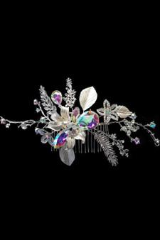 Hair Accessory: Flexible Silver AB Crystal and Rhinestone Flower Hair Vine