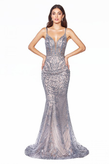 Smoky Blue Art Deco Glitter Print Fitted Dress