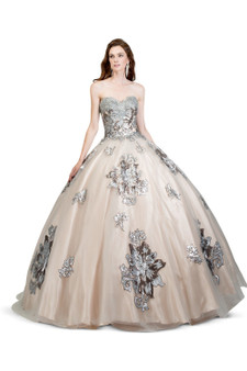 Silver Quince Two Tone Floral Applique Dress