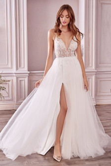 Couture Ophelia V-Neck Floweret Crystal Beaded Tulle Brides Dress