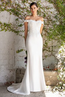 Simple Off-White Elegant Fitted Off The Shoulder Bride Dress