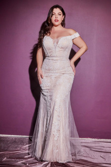 Chantilly Lace Off-White Beaded Bodice Off-Shoulder Bride Dress -Plus Size Only