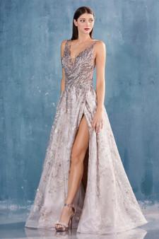 Couture French Grey Beaded Bodice V-Neck Lace Slit Dress