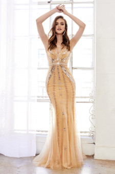 Couture Golden Grace Mirror Beaded Fitted V-Neck Dress