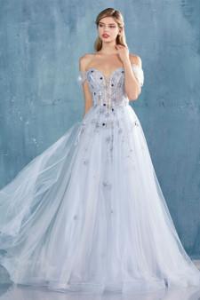 Couture Paris Blue Off-The Shoulder Stars Tulle Dress