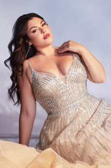 Platinum  Embellished Glitter Beaded Tulle Dress - Plus Size