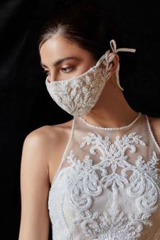 Couture Designer White Beaded Rococo Cosette Fashion Mask