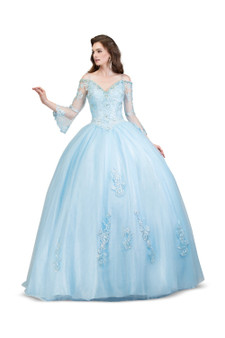 Cinderella Blue Sweetheart Crystal and Lace Ball Gown