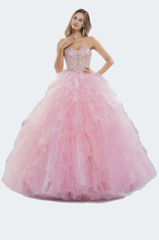 Princess Pink Ruffled Sweetheart Crystal and Lace Bodice Ball Gown