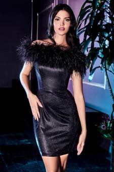 Black Swan Off-Shoulder Feather Boa Cocktail Dress