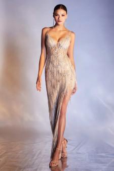 Silver Nude A-symmetrical Flapper Beaded Corset Bodice Dress