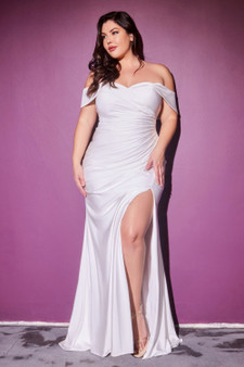 Off-White Sweetheart Neckline Jersey Fitted  Bride Dress - Plus Size Only