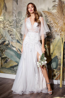 Off White Soft Layered Tulle Fitted Lace Bodice With Butterfly Sleeves Bride Dress