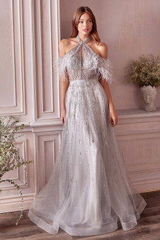 Couture Anastasia Feather Crystal Halter Neck  A-Line Tulle Dress