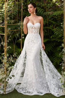 BACK ORDER: Stunning Fitted Floral Lace Applique With Tulle Glitter Overskirt Brides Dress