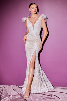 Sparkly Off-White Lace Applique Feather Accent With Leg Slit Brides Dress