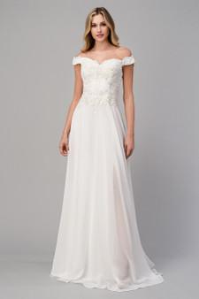 Scallop Lace Applique Off The Shoulder A-line Dress With Slit