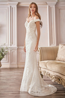 Mermaid Fitted Floral Lace Glitter Overlay Brides Dress