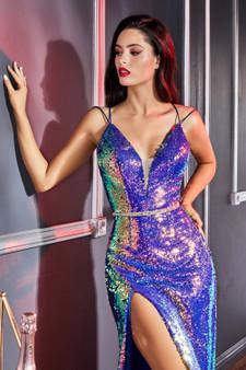 Opal Aqua Iridescent Fitted Sequin Dress