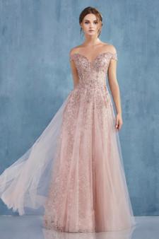 Couture Ambrosia Off The Shoulder Glitter Corset Bodice Dress
