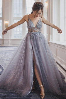 Couture Ophelia Bead Strap Tulle Gown - Multi Colors Available