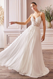A-Line Chiffon Embroidered Beaded Bodice Off White Bride Gown