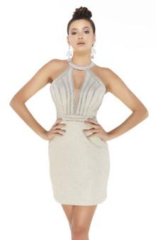 Champagne Halter Stone Embellished Dress