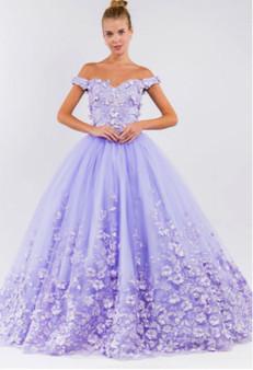 Cut-Away Shoulder 3D Floral Applique Embellished Quinceanera Dress