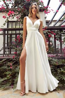 Satin Off White Sweetheart Neckline High Slit Dress
