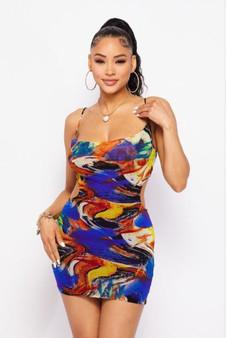 Multi Color Spaghetti Strap Bodycon Side Cut Out Dress