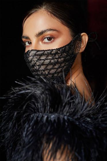 Couture Designer Black Beaded Lattice Bernadette Fashion Mask