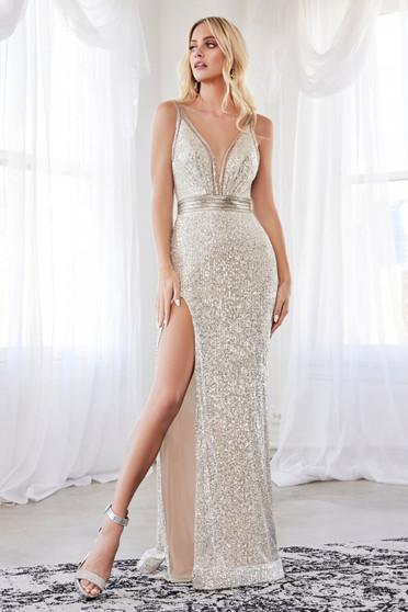 Stunning Silver Sequin Beaded With High Leg Slit Dress