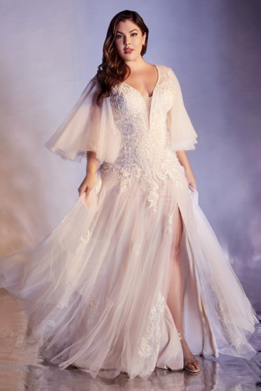 Breathtaking Off White Flowy Lace Applique Soft Tulle Bride Dress - Plus Size Only