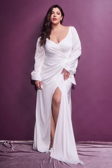 Curvy Smooth Satin Blouson Off White Flowy High Slit Dress