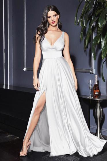 Off White Satin Flowy A-Line High Slit Bride Dress