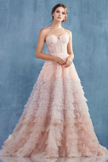 Couture Eva Blush Lace Corset Ruffled Ombre Dress