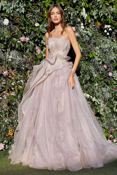 Couture Monarch Butterfly Pale-Mauve Corset Tulle Gown