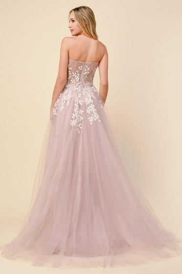 Couture Day Corset Strapless Floral Applique A-Line Dress