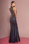 Charcoal Metallic Applique Embellished Mermaid High-Neck Long Dress
