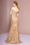 Cut-Away Shoulder Tulle Sequin Mermaid Long Dress