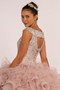 Beads and Sequin Embellished Bodice Boat Neck Ball Dress
