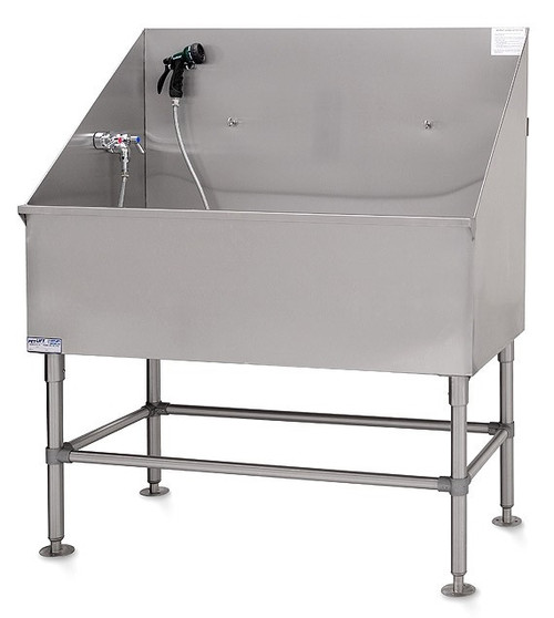 """Petlift LE2448 48"""" no frill stainless steel dog grooming tub."""