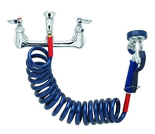 """T&S 8"""" Wall Faucet with Sprayer"""